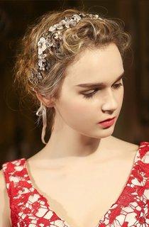 Western Style Bride Headdress White Crystal Diamond Pearl Headdress