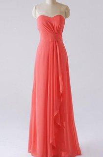 Sheath Maxi Strapped Sweetheart Chiffon Dress