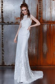 Bateau Sleeveless Sheath Lace Dress With Sweep Train And Illusion Back