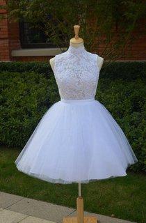 Mini Knee-Length Tulle Lace Dress With Beading Keyhole Back