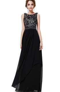Sleeveless Chiffon Gown With Lace Bodice