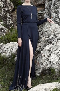 Navy Blue Maxi With Slit Dress