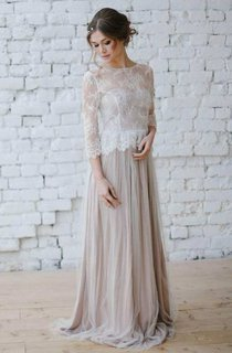 Illusion Lace Long Sleeve Scoop-Neck Tulle Sheath Wedding Dress