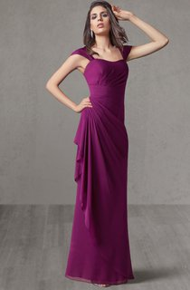 Cap Sleeve Empire Chiffon Bridesmaid Dress