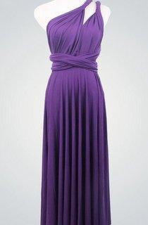 Dark Purple Bridesmaid Multiway Infinity Party Convertible Wrap Purple Knee Length Dress