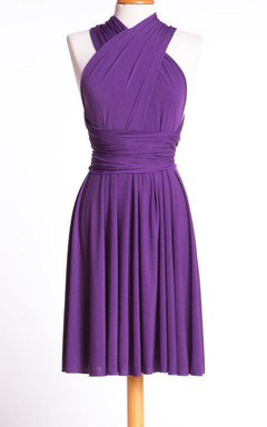 Lilac Purple Short Comfortable Jersey Dress