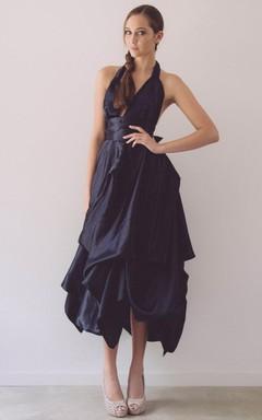 Haltered Sleeveless Tea-Length Dress With Pick Up