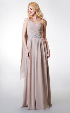 Boho One-shoulder A-line Long Chiffon Dress With Pleats