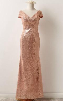 Short Sleeve Sequins Floor-Length Dress With Low-V Back