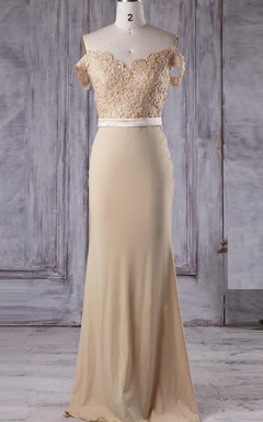 Floor-length Off-the-shoulder V-neck Chiffon&Lace Dress With Beading