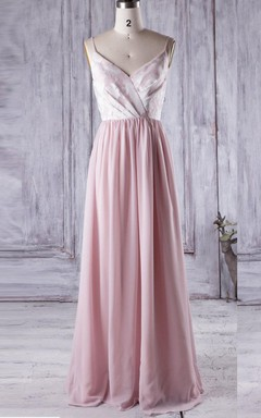 Long Spaghetti Strapped V-neck Chiffon&Lace Dress With Flower&Low-V Back
