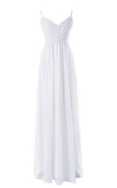 Sleeveless V-neck Asymmetrical Ruched Bodice Long Chiffon Dress