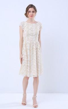 Cap Sleeve Knee Length Lace Dress