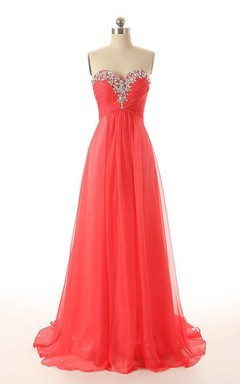 Romantic Sweetheart Long Chiffon Dress With Decorated Neckline