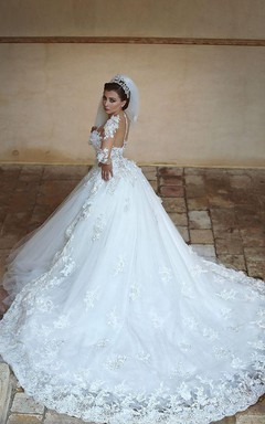 Gorgeous Long Sleeve Appliques Tulle Wedding Dress 2016 Hi-Lo With Train