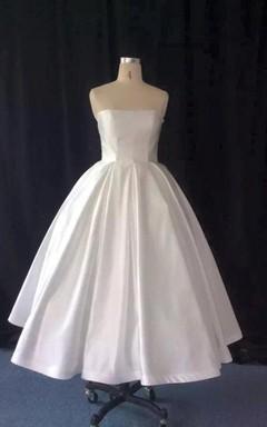 Strapless Tea-Length A-Line Taffeta Wedding Dress With Full Skirt