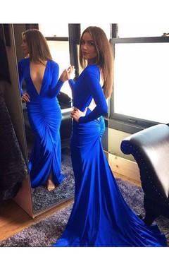 Sexy Royal Blue Deep V-Neck Prom Dress 2016 Mermaid Long Sleeve
