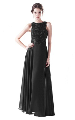 Sleeveless Chiffon Gown With Beaded Bodice