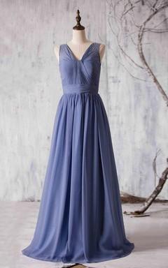 Beaded Maxi Chiffon Bridesmaid Dress