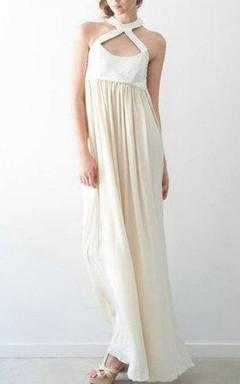 Sheath Floor-Length Halter Chiffon Dress With Pleats