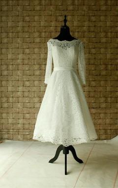 Lace Wedding Sheer Neckline With Sleeves Tea Length Garden Bridal Dress
