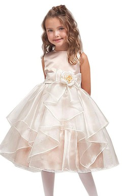 Sleeveless A-line Ruffled Organza Dress With Flower