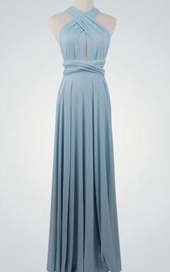Halter Keyhole Infinity Long Bridesmaid Dress