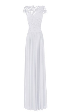Sleeveless Lace Bateau Ruched Long Pleated Chiffon Dress