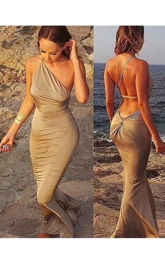 Sexy Sleeveless Mermaid Prom Dresses 2016 Floor Length Beach Dress