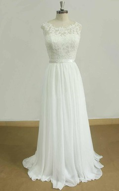 A-Line Sweetheart Chiffon Lace Satin Weddig Dress
