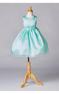 Sleeveless Jewel Neck Satin Organza Layered Skirt With Flower Waistline