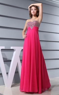 Sassy Sweetheart Chiffon Floor-Length Dress With Beaded Top