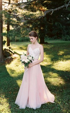 Two-Tone Spaghetti Tulle Dress With Low-V Back