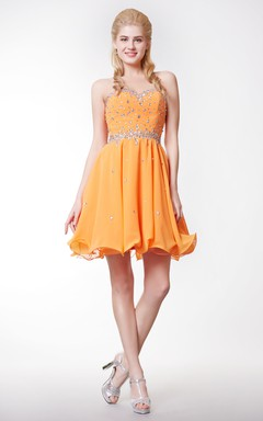 Zip Up Flattering Empire Waist Knee Length Formal Gown Sweetheart Neckline
