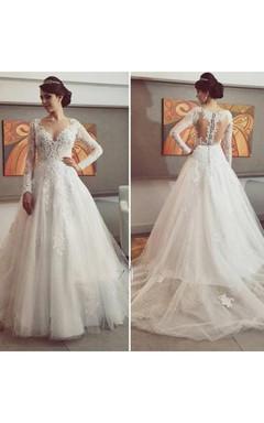 Delicate Lace Appliques Tulle 2016 Wedding Dress Button Zipper Back Long Sleeve