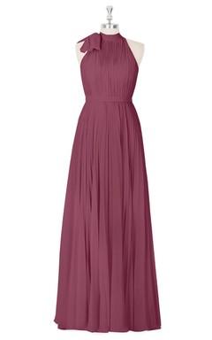 Pleated Sleeveless Floor Length A-Line Chiffon Dress With High Neck