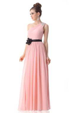 One-shoulder Long Chiffon Gown With Floral Belt