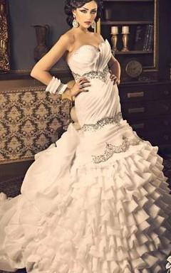 2016 Mermaid White Wedding Dresses Bling Bling Organza New Sexy Evening Dresses