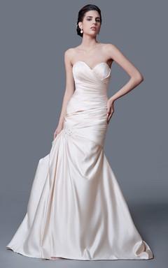 Inspired Sweetheart Backless Taffeta Ruched Mermaid Dress