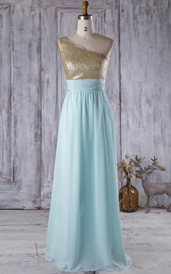Floor-length One-shoulder Chiffon Dress With Sequins