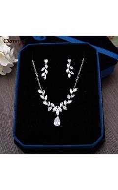Korean Zircon Bride Crown Headdress Necklace Earrings Three - Piece Wedding Accessories Accessories