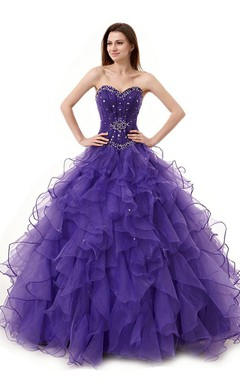 Glamorous Sweetheart Ball Gown Dress With Beaded Bodice