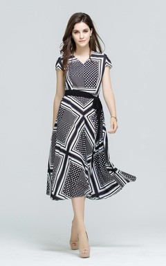 Printed Cap Sleeve A-Line Midi Dress with Sash