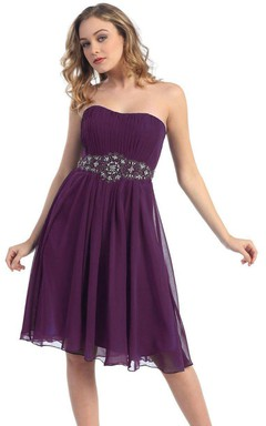 Strapelss A-line Knee-length Dress With Beaded Waist