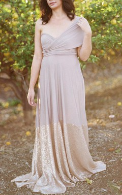 Bell Sleeve Satin Dress With Sequins