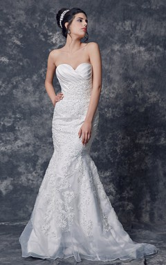Strapless Ruched Organza Gown With Satin Bust and Lace Applique