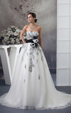 Strapless Appliqued Ball Gown with Flower and Tulle Overlay