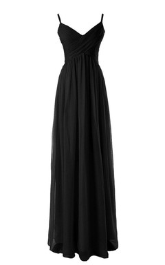 V-neck Chiffon Gown With Spaghetti Straps
