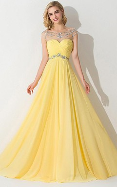 A-Line/Princess Sleeveless Bateau Chiffon Ruched Sweep/Brush Train Dresses