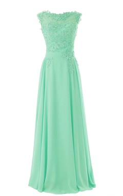 Full Length Flower Appliques Gown With Low-v Back